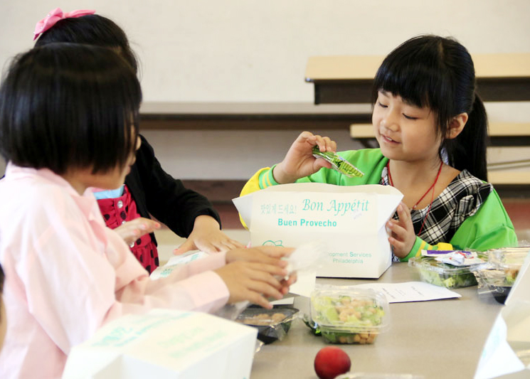 Jin-Han Zhang is excited when she opens her box to find out what she'll be having for lunch.