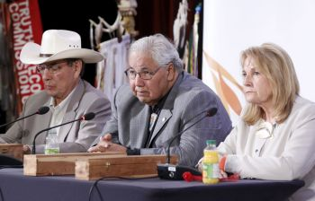 Chief Wilton Littlechild, Justice Murray Sinclair and Marie Wilson, members of the CanadianTruth and Reconciliation Commission, take part in a press conference in Ottawa, Ontario, June 2. (CNS photo/Blair Gable, Reuters)