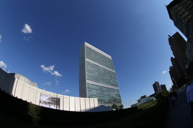 United Nations headquarters in New York City is seen through a fisheye lens June 29. Pope Francis will give a speech at the U.N. during his Sept. 22-27 visit to the United States. (CNS photo/Gregory A. Shemitz)