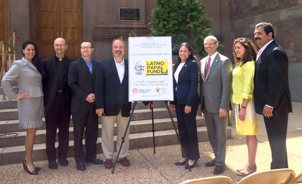 Officials with the Greater Philadelphia Hispanic Chamber of Commerce, the World Meeting of Families and the Archdiocese of Philadelphia launch the Latino Papal fund June 29 at the Cathedral Basilica of SS. Peter and Paul, Philadelphia. (Photo by Lindsay Hueston)