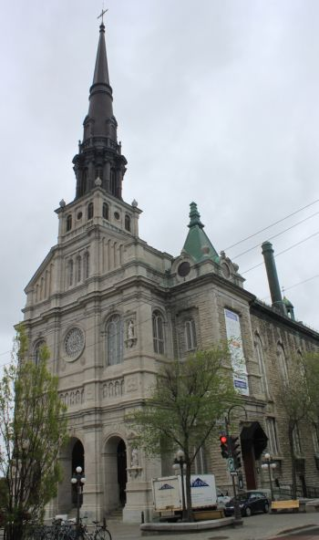 An exterior of St. John the Baptist Church in Quebec City is seen in a late May photo. Dedicated to the patron saint of French Canadians, the church stands among the high profile churches of both the archdiocese and Quebec province.  Despite being a heritage church, the archdiocese planned to close it because of dwindling membership and massive repairs. (CNS photo/Philippe Vaillancourt)