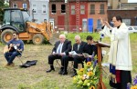 Bishop John McIntyre blesses the ground where St Francis Inn Senior Housing will be bulit.
