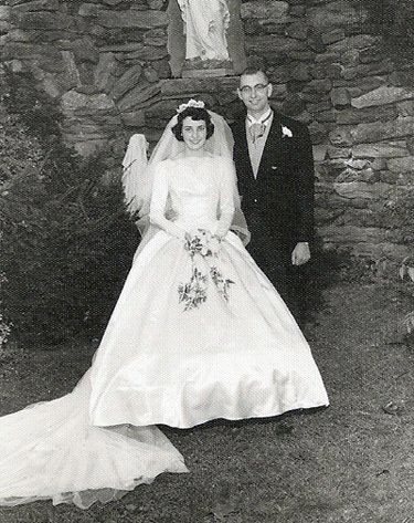 Paul and Margaret Anne Waltrich on their wedding day in 1960 at St. Athanasius Church in West Oak Lane.