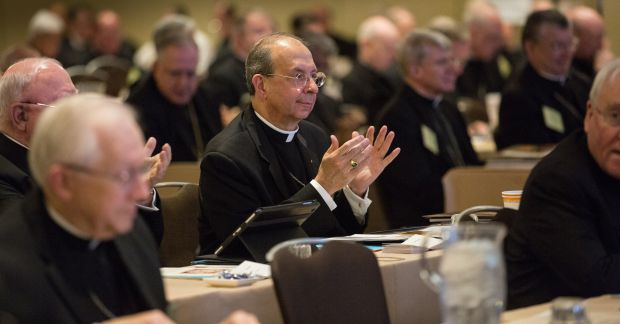 Baltimore Archbishop William E. Lori attends a morning session June 10 during the annual spring general assembly of the U.S. Conference of Catholic Bishops in St. Louis. (CNS photo/Lisa Johnston, St. Louis Review)