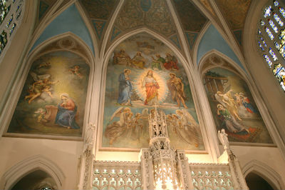 An interior view of Incarnation Church shows its ornate sanctuary.
