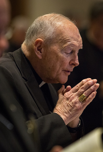Cardinal Theodore E. McCarrick, retired archbishop of Washington, attends the morning prayer June 11 during the spring general assembly of the U.S. Conference of Catholic Bishops in St. Louis. (CNS photo/Lisa Johnston, St. Louis Review)