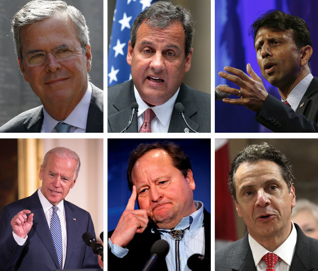 Catholics who have expressed an interest in running for the U.S. presidency include, clockwise, former Florida Republican Gov. Jeb Bush, New Jersey Republican Gov. Chris Christie, Louisiana Republican Gov. Bobby Jindal, Democratic Vice President Joe Bide n, former Montana Democratic Gov. Brian Schweitzer, and New York Democratic Gov. Andrew Cuomo. Not pictured is Iowa Republican Rep. Steve King and New York Republican Rep. Pete King. (CNS photo/Reuters and EPA)