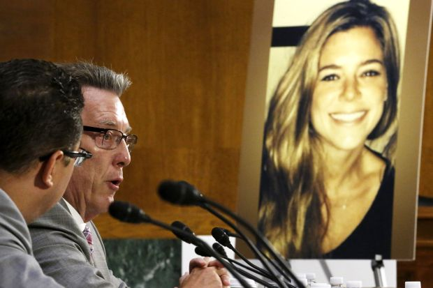 Jim Steinle, father of murder victim Kathryn Steinle, pictured at right, testifies about his daughter's death during a July 21 a Senate Judiciary Committee hearing on U.S. immigration enforcement policies on Capitol Hill in Washington. Kathryn was allegedly killed by an immigrant who is in the country illegally and has a felony record. (CNS photo/Jonathan Ernst, Reuters)