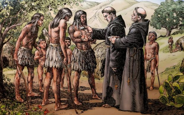 A baptism conducted by California mission friars is shown in a sketch displayed at the Mission Basilica San Diego de Alcala in San Diego July 27. This drawing is part of a collection of sketches depicting mission life by California artists A.B. Dodge and Alexander Harmer. (CNS photo/Nancy Wiechec)