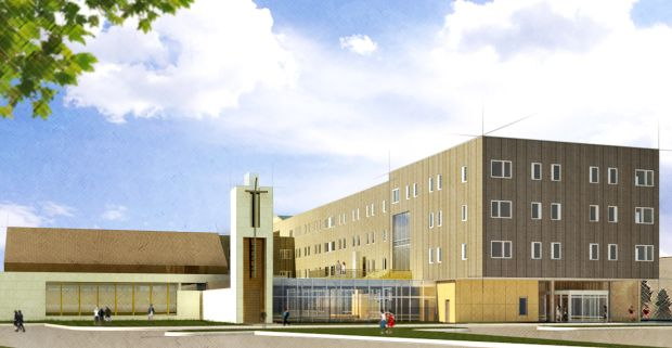 This is an architectural rendering of the St. John Paul II Newman Center, which is scheduled to open near the University of Nebraska at Omaha in fall 2016. (CNS photo/courtesy Archdiocese of Omaha)