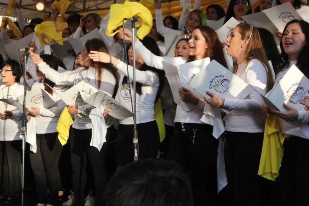 Inmates sing for Pope Francis in Paraguay. (CNS photo/Barb Fraser)