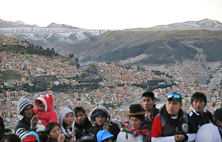 People wait to see Pope Francis July 8 on a high point overlooking La Paz, Bolivia. (CNS photo/Paul Haring)
