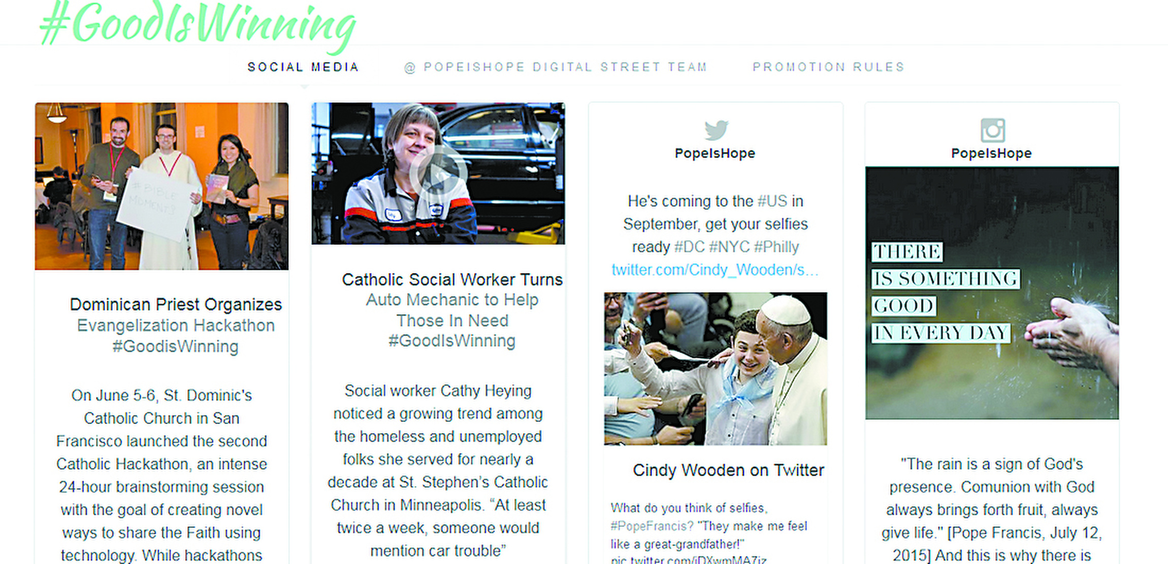 "This is a screenshot of the website goodiswinning.aleteia.org.(CNS photo/""Good Is Winning"" campaign)"