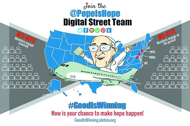 "This is a screenshot of the website goodiswinning.aleteia.org. During Pope Francis' visit to the U.S., Aleteia.org's digital campaign will spread the message ""Good Is Winning,"" an effort to highlight acts of mercy, kindness, courage and dignity in everyday life. (CNS photo/ ""Good Is Winning"" campaign)"