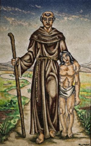 Blessed Junipero Serra is depicted with a California Indian in a painting in early May at Mission San Fernando Rey de Espana in Mission Hills, Calif. (CNS photo/Nancy Wiechec) .