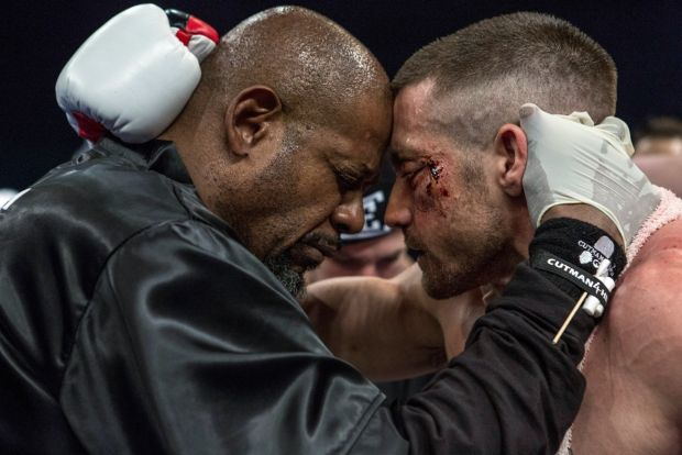"""Forest Whitaker and Jake Gyllenhaal star in a scene from the movie """"Southpaw.""""  (CNS photo/Weinstein)"""