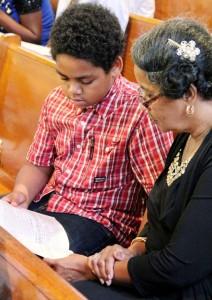 Fransetta Washington and her great nephew Zanya Hubbard