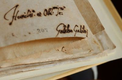The signature of astronomer Galileo Galilei from the records of his trial is seen on a document in the Vatican Secret Archives. (CNS photo/Vatican Secret Archives)