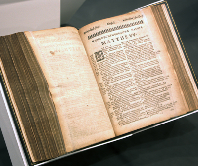 The first complete Bible printed in the New World, a translation of the Bible into the Native American Massachusett language, by Puritan missionary John Eliot, in 1663. (Penn Museum)