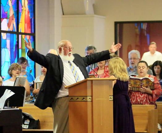 cantor Jim Kirby and choir director Lauren Demkovitz