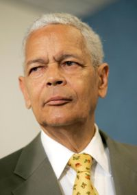 In this Aug. 31, 2006 file photo, former NAACP Chairman and civil rights advocate Julian Bond is seen at a press conference in Washington. Bond died Aug. 15  at age 75. (CNS photo/Matthew Cavanaugh, EPA)