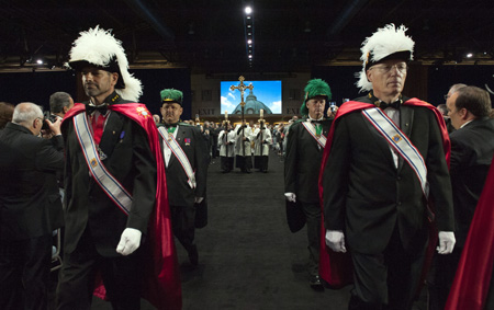 Knights of Columbus lead the way for the recessional of the opening Mass for the international gathering of the fraternal organization Aug. 4 in Philadelphia. (Kaitlyn Landgraf)