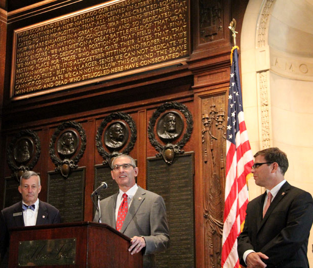 Robert J. Ciaruffoli, President of the World Meeting of Families (center) speaks about the lectern Aug. 7 with Union League of Philadelphia staff Jim Mundy (left), director of education and programs, and John Meko, executive director for foundations. The venerable Union League was founded in Philadelphia in 1862 to support President Lincoln's policies. A portion of the Gettysburg Address is emblazoned on a plaque behind the speakers. (Sarah Webb)