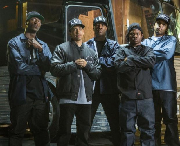 "Aldis Hodge, Cornelius Brown Jr., Corey Hawkins, Jason Mitchell and O'Shea Jackson Jr., star in a scene from the movie ""Straight Outta Compton."" (CNS photo/Universal Pictures)"