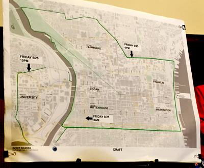 """A map of center city Philadelphia shows the green outline of the """"traffic box"""" in which drivers would face travel restrictions from Friday evening, Sept. 25 to Monday, Sept. 28."""