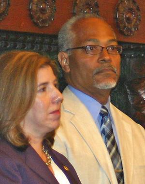 PennDOT Secretary Leslie Richards attends the Aug. 5 press conference alongside Everett Gillison, deputy mayor of Philadelphia and Mayor Michael Nutter's chief of staff. (Matthew Gambino)