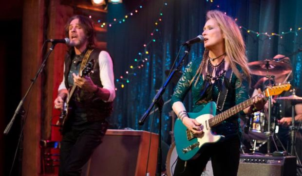 """Rick Springfield and Meryl Streep star in a scene from the movie """"Ricki and the Flash.""""  (CNS photo/Sony)"""