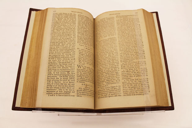 An early printing of the U.S. Constitution, which guarantees religious freedom in the First Amendment.
