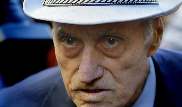 Although at least 600,000 Romanian citizens were thrown into prisons and labor camps under communist rule, Alexandru Visinescu, pictured in a 2014 photo, was the first former commandant sentenced for crimes against humanity. (CNS photo/Robert Ghement, Reuters)