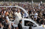 Pope Francis arrives to celebrate Mass in Nu Guazu Park in Asuncion, Paraguay, July 12. (CNS photo/Paul Haring)