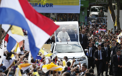 Pope Francis arrives to celebrate Mass outside the Caacupe Marian Shrine in Asuncion, Paraguay, July 11. (CNS photo/Paul Haring)