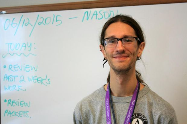 Nason Heywood, pictured in a June 12 photo, will finish his second year as a Notre Dame AmeriCorps Boston volunteer this summer. He plans to turn his newfound love of teaching into a career in special education. (CNS photo/Tara Garcia Mathewson, Global Sisters Report)