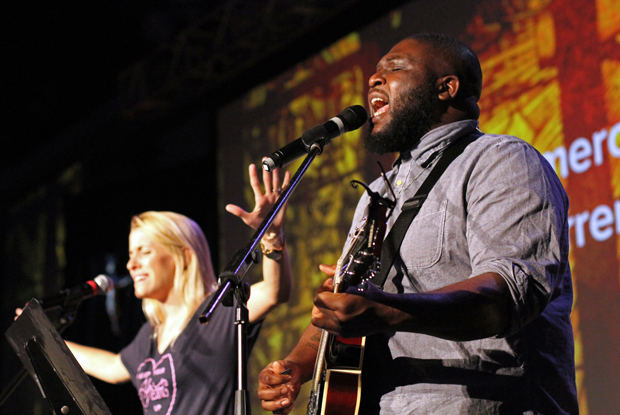 Emily Wilson of Los Angeles and Ike Ndolo of Nashville, Tenn., perform Aug. 8 during the Steubenville NYC youth conference at St. John's University. (CNS photo/Gregory A. Shemitz)