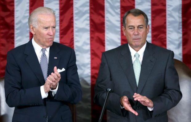 Vice President Joe Biden and House Speaker John Boehner are pictured in 2013 during a joint meeting of Congress.Pope Francis is scheduled to address Congress Sept. 24 and observers think he will hold up their work as important, but challenge them to see the need to more consistently uphold life in care for the poor, the unborn and the undocumented. (CNS photo/Gary Cameron, Reuters)