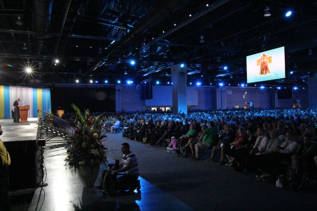 A full hall at the Pennsylvania Convention Center in Philadelphia listens to Cardinal Sarah's talk. (Sarah Webb)