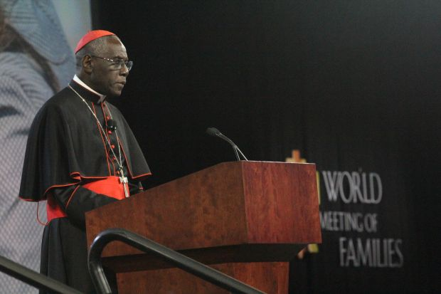 "Cardinal Robert Sarah speaks on ""The Light of the Family in a Dark World"" during his keynote address Wednesday morning, Sept. 23 at the World Meeting of Families in Philadelphia. (Sarah Webb)"