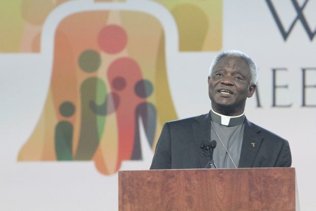 Cardinal Peter Turkson speaks Sept. 24 at the World Meeting of Families in Philadelphia. (Sarah Webb)