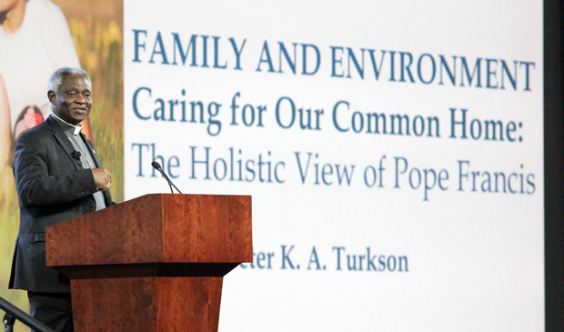 "Cardinal Peter Turkson of Ghana speaks on the linkage of family and the environment evident in Pope Francis' encyclical ""Laudato Si',"" during a session Sept. 23 at the World Meeting of Families in Philadelphia. (Sarah Webb)"