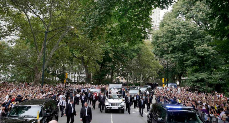 Pope Francis rides through New York's Central Park in the popemobile Sept. 25.  (CNS Photo/Richard Drew, pool)
