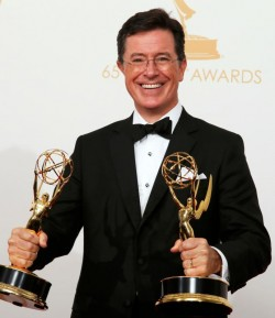 "Stephen Colbert, who took over Sept. 8 as host of CBS' ""Late Show"" program, said in an interview for Canada's Salt and Light Television that his ""Colbert Report"" character was intended to be a ""well-­intentioned, poorly informed, high­status idiot."" Colbert is pictured in a 2013 photo. (CNS photo/Lucy Nicholson, Reuters)"