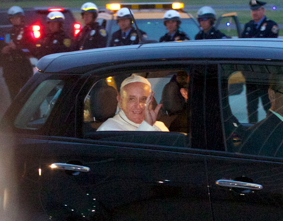 Pope Francis prepares to depart for the airport. Photo by Bradley Digital.