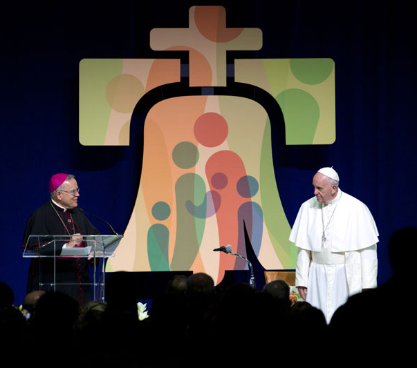 Archbishop Charles Chaput thanks Pope Francis for his trip to Philadelphia before he departs back to Rome. Photo by Bradley Digital.