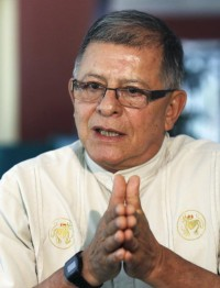 Rodrigo Granda, international spokesman for the Revolutionary Armed Forces of Colombia, FARC, gestures while speaking to Reuters in Havana Aug. 19. Members of Colombia's largest rebel group asked for Pope Francis' blessing as they enter a third year of peace talks with the Colombian government. (CNS photo/Jorge Luis Banos, Reuters)