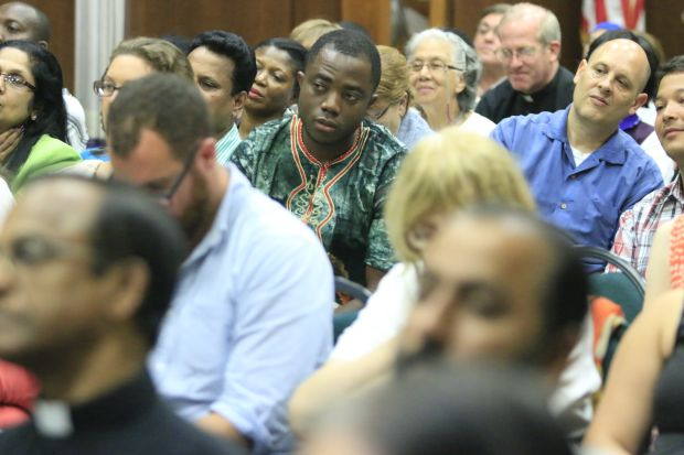Members of the audience listen to one of the immigration-themed discussions. (Sarah Webb)