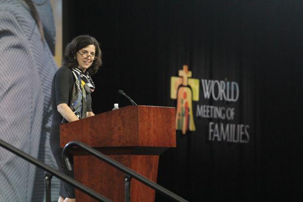 Helen Alvare speaks Sept. 24 at the World Meeting of Families in Philadelphia. (Sarah Webb)