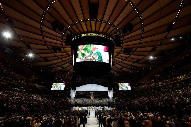 Pope Francis celebrates Mass at Madison Square Garden in New York Sept. 25. (CNS photo/Paul Haring) See POPE-NY-MASS Sept. 25, 2015.